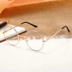 Ochelari rotunzi rama aurie lentila transparenta  unisex model retro cu husa, Rotunda