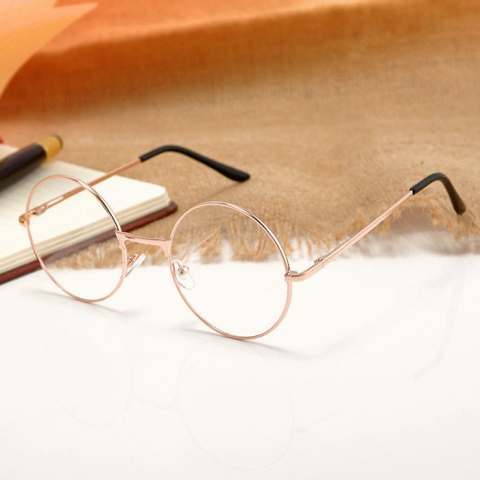 Ochelari rotunzi rama aurie lentila transparenta  unisex model retro toc inclus foto mare