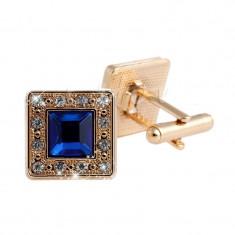 Butoni eleganti cristale aurii patrati metalici + cutie simpla cadou