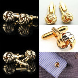 Butoni eleganti metalici aurii + cutie simpla cadou