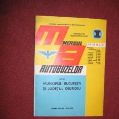 Mersul autobuzelor pentru municipiul Bucuresti si judetul Giurgiu 1984 - 1985 - Carti Transporturi