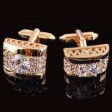 Butoni eleganti aurii cristale + cutie simpla cadou