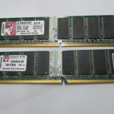Memorie 1GB DDR400 DIMM, Kingston KVR400 (2x512MB) Dual Channel, 100% testate