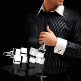 Butoni camasa eleganti metalici argintii + cutie simpla cadou