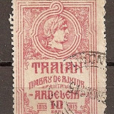 SD Romania 1915 - LP VI / 3- Pentru ardeleni - Traian, 10 Bani rosu, stampilat