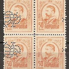 "SD Romania 1908 LP66- Carol I gravate, 50 Bani, bloc de 4 timbre, PERFIN ""BCR"", Stampilat"