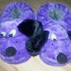 Papuci de casa in forma de catel - sosoni (marime 31) ER122 - Papuci copii, Culoare: Mov, Fete