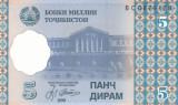 Bancnota Tadjikistan 5 Diram 1999 - P11 UNC