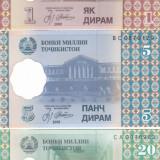 Bancnota Tadjikistan 1, 5 si 20 Diram 1999 - P10-12 UNC (set 3 bancnote) - bancnota asia