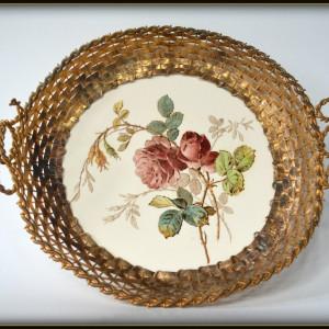 Veche fructiera sau cos pentru paine Art Deco , majolica si elemente de alama