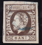 ROMANIA 1871/72 , CAROL I  BARBA  NED.  VAL. 25 B  BRUN T4 POINCON  HEIMBUCHLER, Stampilat