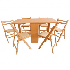 Set masa plianta MD1 cu 6 scaune pliante - Masa bucatarie