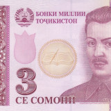 Bancnota Tadjikistan 3 Somoni 2010 - P20 UNC - bancnota asia