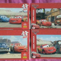 Set 4 Mini Puzzle Altele Trefl 54 piese - Disney-Pixar Cars (tip 2), 4-6 ani, Carton, 2D (plan), Unisex