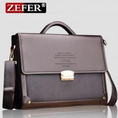 ZEFER - Geanta Business Lux din piele 38x28x8 cm - Geanta Barbati, Marime: Mare, Culoare: Maro, Servieta