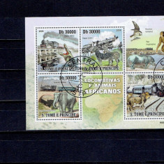 Sao Tome - Trenuri si african Fauna - Timbre straine, An: 2009, Natura, Stampilat