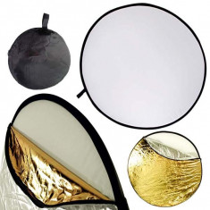 Blenda reflexie-difuzie 5 in 1 difuzie gold silver negru alb rotunda 80cm - Echipament Foto Studio, Blende foto reflexie