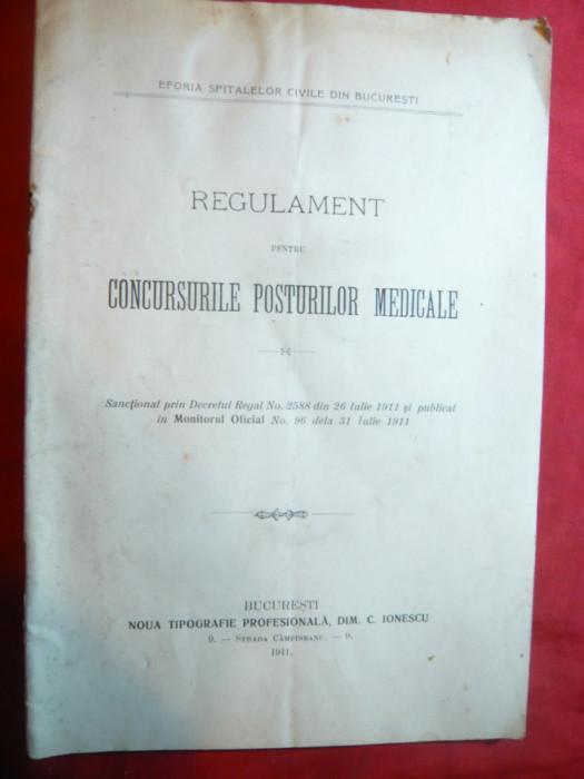 Regulament pt. Concursurile Posturilor Medicale 1911 -Eforia Spitalelor civile