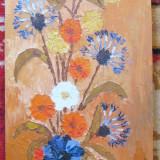 Tablou Vas cu flori de camp pictura in ulei pe panza - Pictor roman, Natura statica, Realism