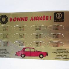 RAR! CALENDAR DIN TABLA PENTRU EXPORT(FRANTA) AUTO DACIA 1978