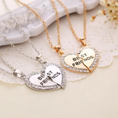 Pandantiv / Colier / Lantisor - BFF BEST FRIENDS - In Forma De Inima (SET 2 BUC) - Pandantiv fashion