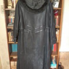 Haină lungă de piele de damă - Palton dama, Marime: XL/XXL, Culoare: Negru