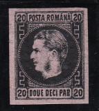 ROMANIA 1867 , CAROL I CU FAVORITI HARTIE SUBTIRE VALOREA  20 PARALE T 2, Nestampilat