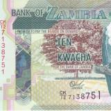 Bancnota Zambia 10 Kwacha 2015 - P51b UNC - bancnota africa