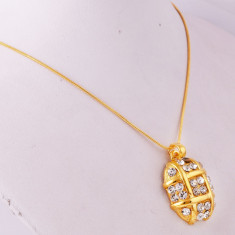 Colier lant placat cu aur 14k cu pandantiv oval cu zirconii +saculet cadou - Colier placate cu aur pandora