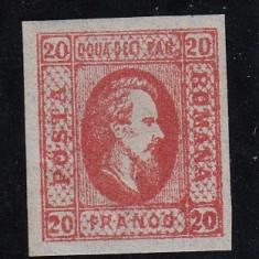 ROMANIA 1865, ALEXANDRU IOAN CUZA VALOAREA 20 PARALE ROSU MNH - Timbre Romania, Nestampilat