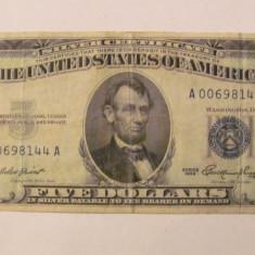 CY - 5 dollars dolari 1953 A USA SUA / acoperire in argint - bancnota america