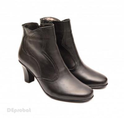Ghete dama casual-elegante negre din piele naturala cod G19 foto