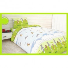 Lenjerii de pat copii Tom si Jerry 140x210 - Lenjerie pat copii Altele, Alte dimensiuni, Verde