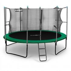 Klarfit Rocketstart 366, 366 cm trambulină, plasă internă de securitate, scară largă, verde - Aparat multifunctionale fitness