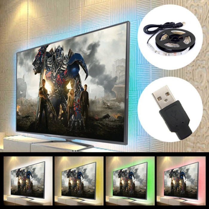 Banda LED RGB USB 5V lumina ambientala TV camera Alternative Ambilight kit pret