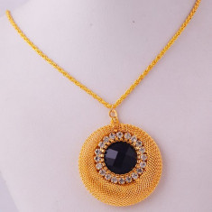 Colier placat cu aur 14k cu pandantiv oval rotund cu zirconii +saculet cadou - Colier placate cu aur pandora