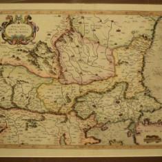 Walachia, Servia, Bulgaria, Romania, varianta de culoare I, Mercator 1595 - Harta Romaniei