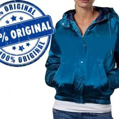 Geaca dama Adidas Originals Satin Bomb - geaca originala - iarna, Marime: S/M, Culoare: Albastru, Poliester