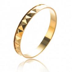 LIVRARE GRATIS Bratara fixa placata cu aur 14k model etno geometric+sac cadou - Bratara placate cu aur pandora, Femei