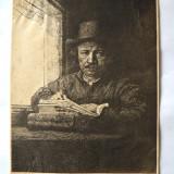 """Rembrandt """"Autoportret"""" gravura veche - Pictor strain, Portrete, Cerneala, Realism"""