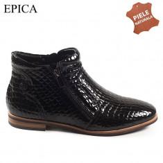Ghete dama piele naturala EPICA negru lac croco (Marime: 38)