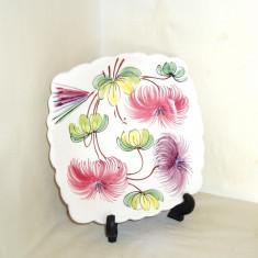 Farfurie ceramica emailata, pictata manual sub smalt - marcaj Made in Italy 1920 - Arta Ceramica