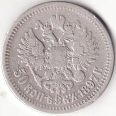 Imperiul Rus - 50 Kopeks 1897 - Argint