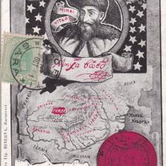 MIHAI VITEAZUL 1601-1901 HARTA ROMANIA LIBERA CLASICA TCV CIRCULATA 1901 - Carte postala tematica, Printata
