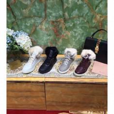 Sneakers dama fara toc GUCCI - piele si blanita naturala - Ghete dama Gucci, Culoare: Alb, Gri, Negru, Visiniu, Marime: Alta, Piele naturala