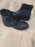 Bocanci barbat TIMBERLAND originali piele waterproof negru+tesut gros 41.5/42/43, Piele naturala
