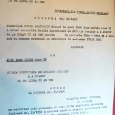 Diploma la Scoala Superioara de Stiinte Sociale AA Jdanov 1952 - Diploma/Certificat
