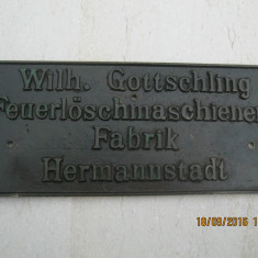 Sibiu-Hermannstadt-Nagyszeben -Stema-Sigla unei fabrici din oras, in bronz