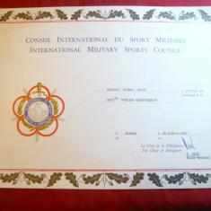 Diploma la Consiliul International de Sport Militar 1987 pt.Col.C.Kramer - Diploma/Certificat