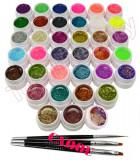 Set 36 geluri UV Color cu sclipici ENS PRO pentru Lampa UV + CADOU, Gel colorat